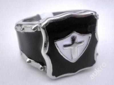 Prsten KŘÍŽ erb heraldika PUNK černěný 20mm