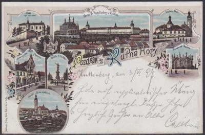 KUTNÁ HORA - NÁDHERNÁ LITOGRAFIE prošlá 1897