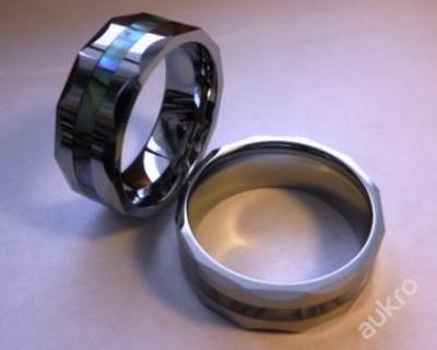 Prsten perleťový pruh WOLFRAM hranatý 20mm