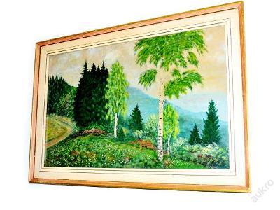 obraz, zasklený olej, krajinka s cestičkou