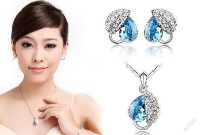KRÁSNÉ náušnice náhrdelník řetez krystaly VYPRODEJ NP42k
