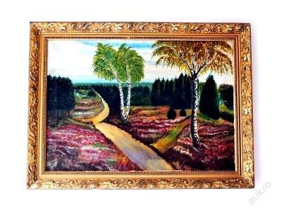 obraz, olej na plátně, polní cesta