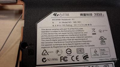 Spodní vana z MSI 623X MS-1651