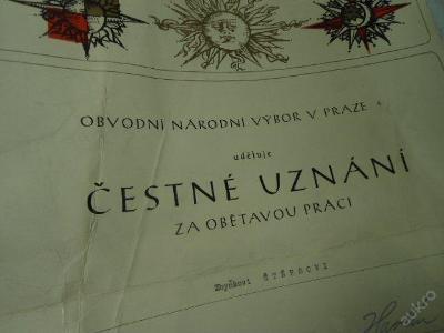 Čestné uznání za obětavou práci ONV podpis Havlín