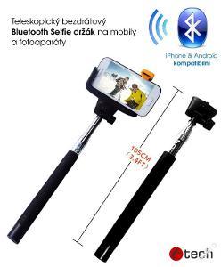 Nový černý tel. selfie C-TECH držák BT v záruce
