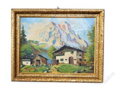 obraz, olej, Tyrolská vesnička