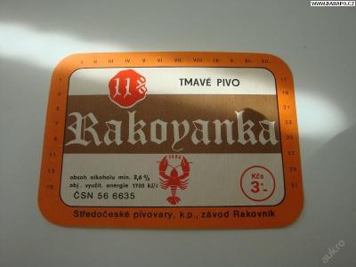 PIVNÍ ETIKETA - Rakovanka - tmavé pivo 11pr.