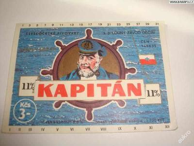 PIVNÍ ETIKETA - Kapitán - 11pr. - světlý ležák