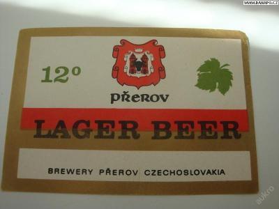 PIVNÍ ETIKETA - Lager Beer Přerov - 12°