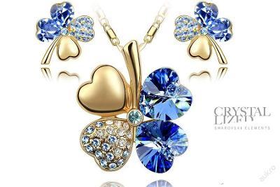 Náušnice a náhrdelník + řetízek zlato__ jetel NP33