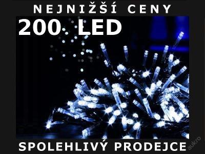 VÁNOČNÍ OSVĚTLENÍ 200 LED - ŘETĚZ BÍLÉ LAMPIČKY