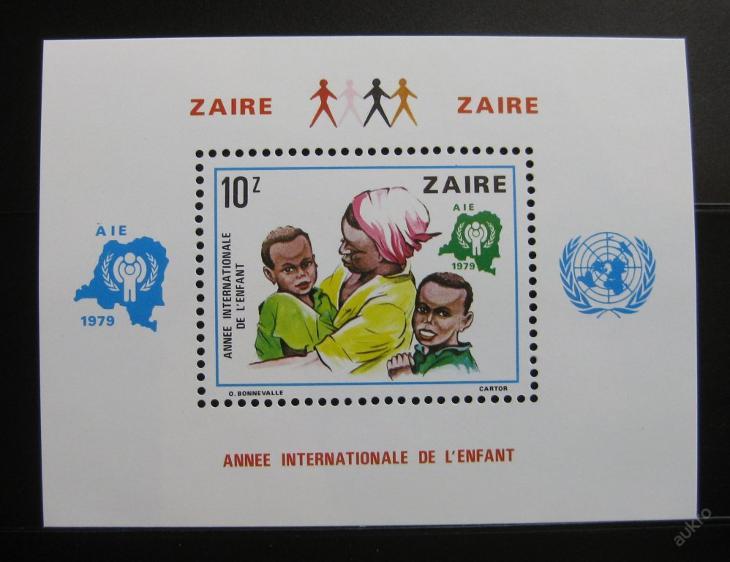Zair 1979 Mezin. rok dětí Mi# Block 29 15€ 0208 - Filatelie