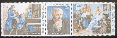 Monako 1981 W. A. Mozart Mi# 1470-72 8.50€ 0373