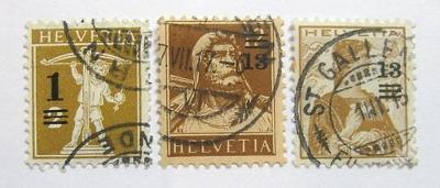 Švýcarsko 1915 Přetisky Mi# 124-26 18€ 0623