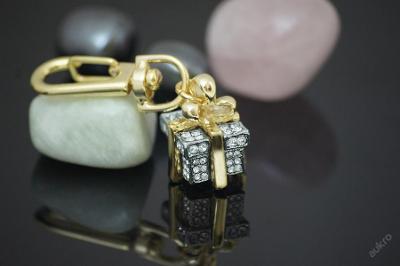 Crystal přívěšek na klíče dárek 3D zlato ____ RN26