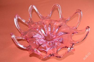 velká mísa, hutní sklo, růžová