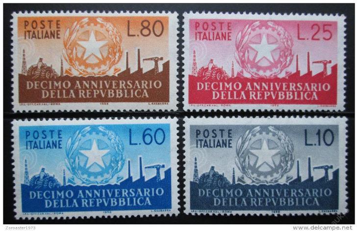 Itálie 1956 Výročí republiky Mi# 967-70 15€ 0024 - Filatelie