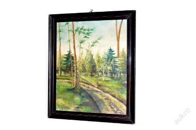 obraz, olej, lesní cestička, Řezníček r.1975