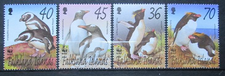 Falklandské o. 2002 Tučňáci,312 Mi# 855-58 16€ WWF - Filatelie