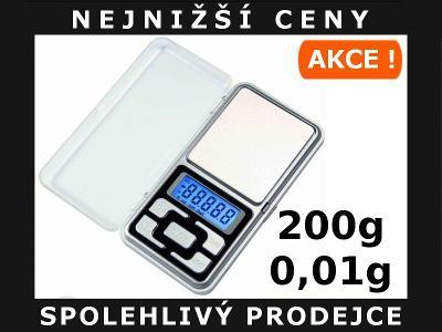 DIGITÁLNÍ KAPESNÍ MINI VÁHA 200g/0,01g LCD AKCE !