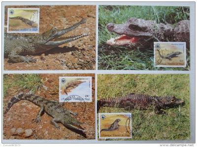 Kongo 1987 Krokodýly 045 Mi# 1063-66 Pohlednice