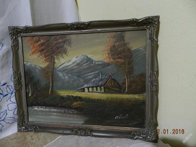Krásný starý obraz Hory Chalupa olej plátno signo.