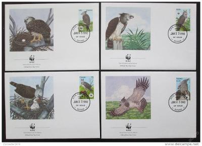 Guyana 1990 Harpyje 089 Mi# 3077-80 FDC WWF