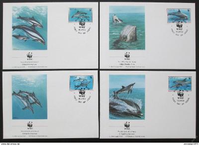 Niue 1993 Delfíni, 137 Mi# 822-25 FDC WWF