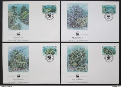 Tuvalu 1992 Korály 131 Mi# 638-41 FDC WWF