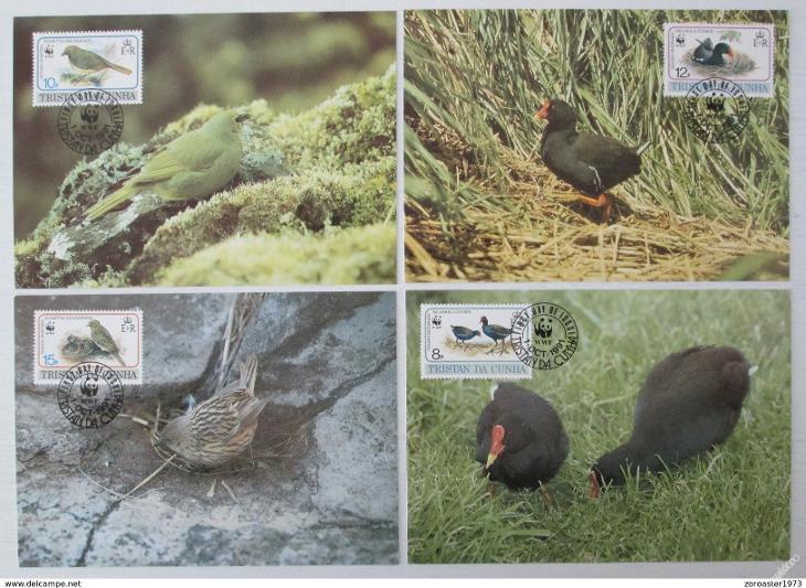 Tristan da Cunha 1991 Ptáci 118 Mi# 513-16 Pohledy - Filatelie