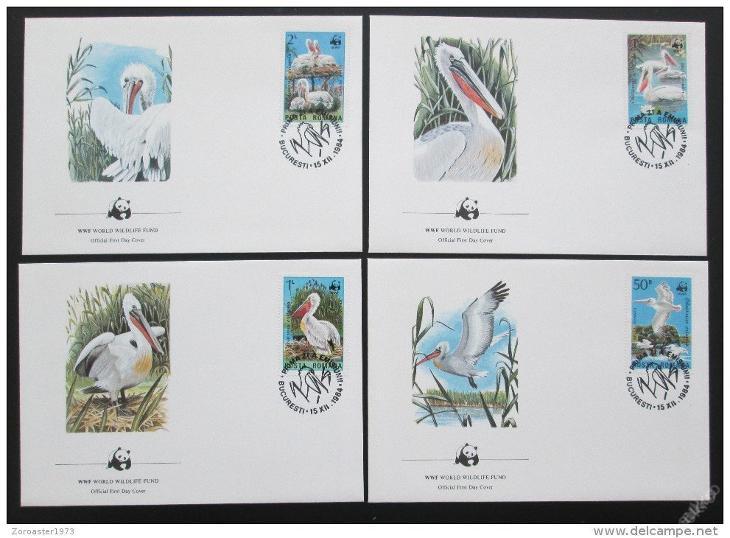 Rumunsko 1984 Pelikáni 022 Mi# 4104-07 FDC WWF - Filatelie