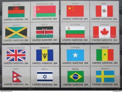 OSN New York 1983 Vlajky 4Bloky Mi# 422-37 1204
