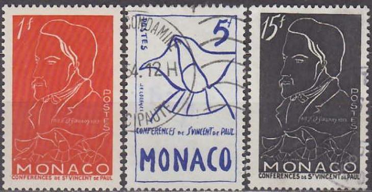 MONACO - MONAKO 1954 Mi.č.: 473-475 - ražené - Filatelie