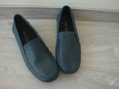 Dámské boty na podpatku, modré , nové