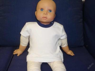 Dětské bílé tričko kr.ruk.modrý límec - vel. 56,68
