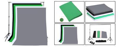Konstrukce 2mx2m s brašnou včetně 5ks fotopozadí