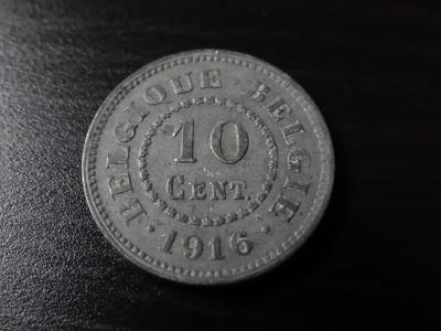 10 cent 1916, Belgie, luxusní stav.