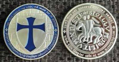 ŘAD TEMPLÁŘŮ rytířů MODRÝ kříž jezdec Ag.999