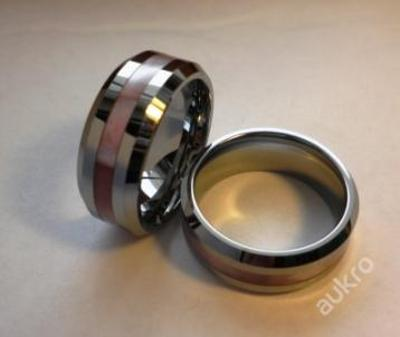 Prsten WOLFRAM růžový perleťový pruh  19mm