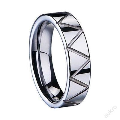 Prsten stříbrný WOLFRAM rýhy 20mm
