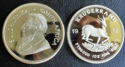 KRUGERRAND 1972 pozlacená ocel PROOF