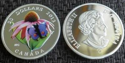 Kanada 20 dollars 2013 Motylek stříbřená PROOF