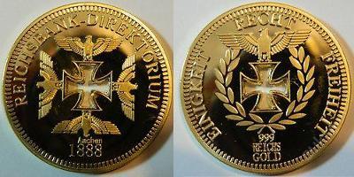 Aachen 1888 Reichsbank gold orel kříž