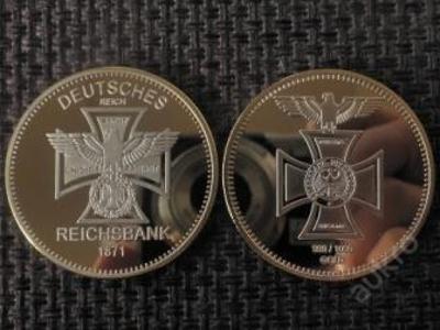 1871 Reichsbank gold orel kříž Au.999