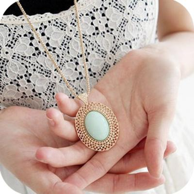 Náhrdelník ZELENÝ OVÁL gem zlatá *399