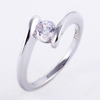 Prsten Bílý zirkon 17.8mm stříbřený .925 *170