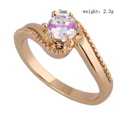 Prsten pozlacený 18K zirkon 18.5mm *428