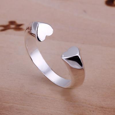 Prsten se srdíčky otevřený stříbřený .925 *264