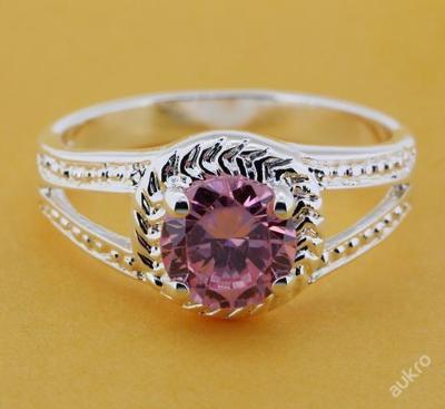 Prsten růžový zirkon 17mm stříbřený .925 *205