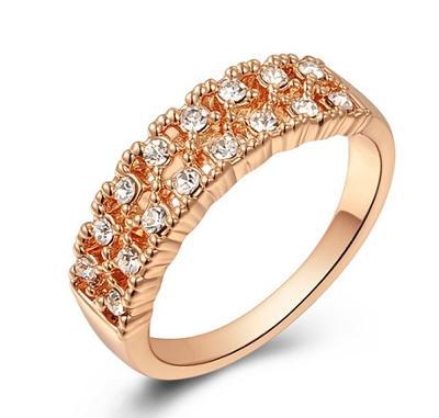 Prsten pozlacený růžové zlato zirkony 17.5mm *464